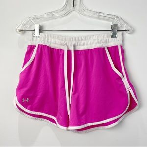 Under Armour pink and white running shorts
